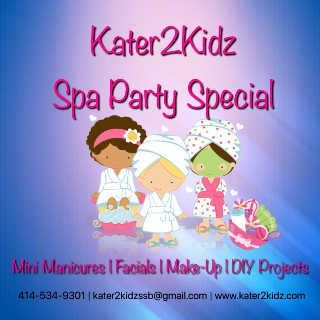 "Spa Party The Princess and her friends will get luxurious treatments at our  ""Spa Party."" Relax in a robe while getting mini manicures, facials and fabulous make-up. After the calm has set the energy begins with some games, music and the dance floor. This party includes complimentary treat bags. Kater2Kidz will provide decorations (except balloons), we will set-up and take down. This package features a 2 hour party for a maximum of 5 girls including the birthday girl.   4yrs to 6yrs old $200 /// 7yrs to 13yrs old $275"